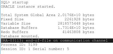 Escenario inicial error ORA-03113 en Oracle 11g y versiones similares