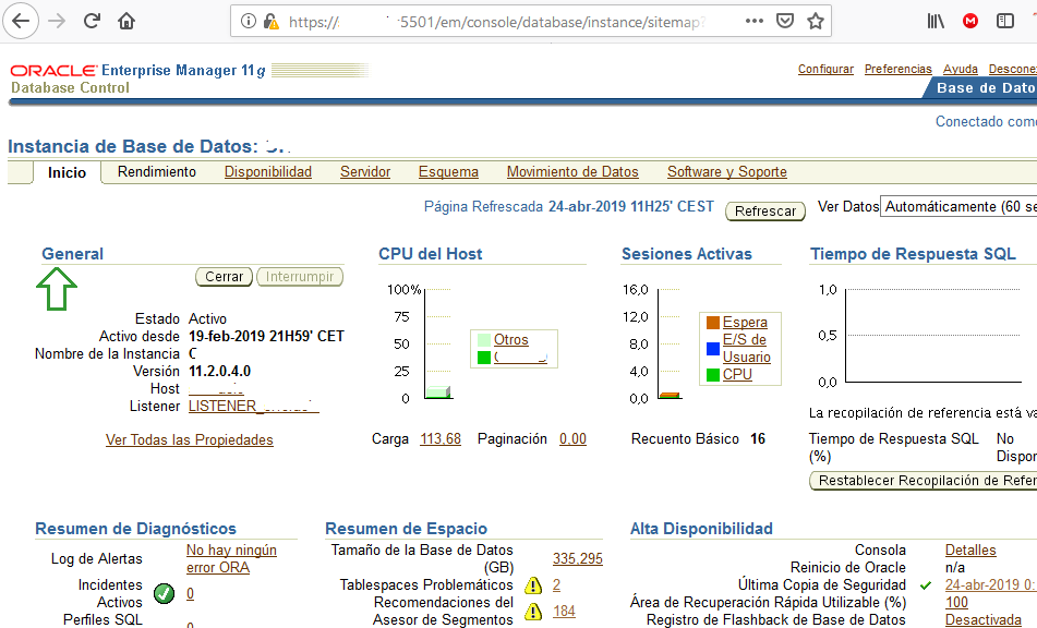 Solución error ORA-03113 end-of-file on communication channel en arranque Oracle 11g