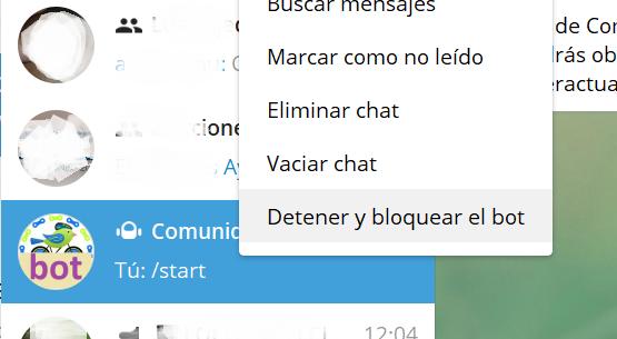 Acceso al bot de Telegram