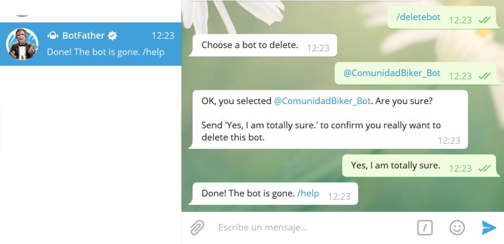 Otras funciones, eliminar bot