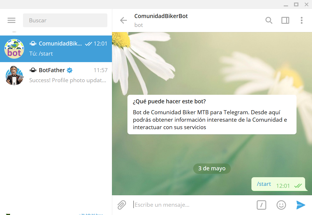 Crear bot en Telegram y generar token de seguridad para uso por aplicación externa