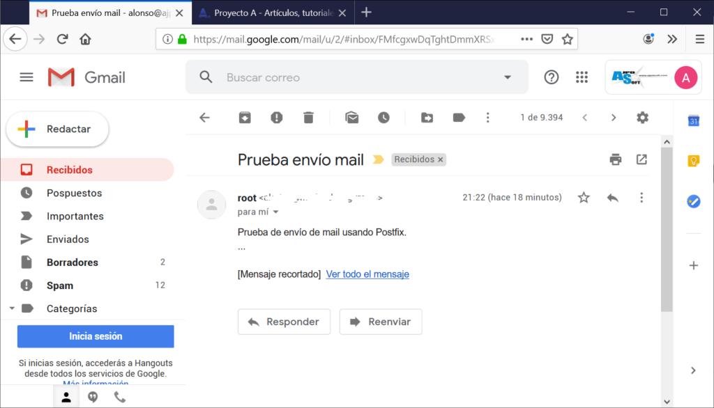 Prueba de envío de email desde la consola de Linux con el comando mail