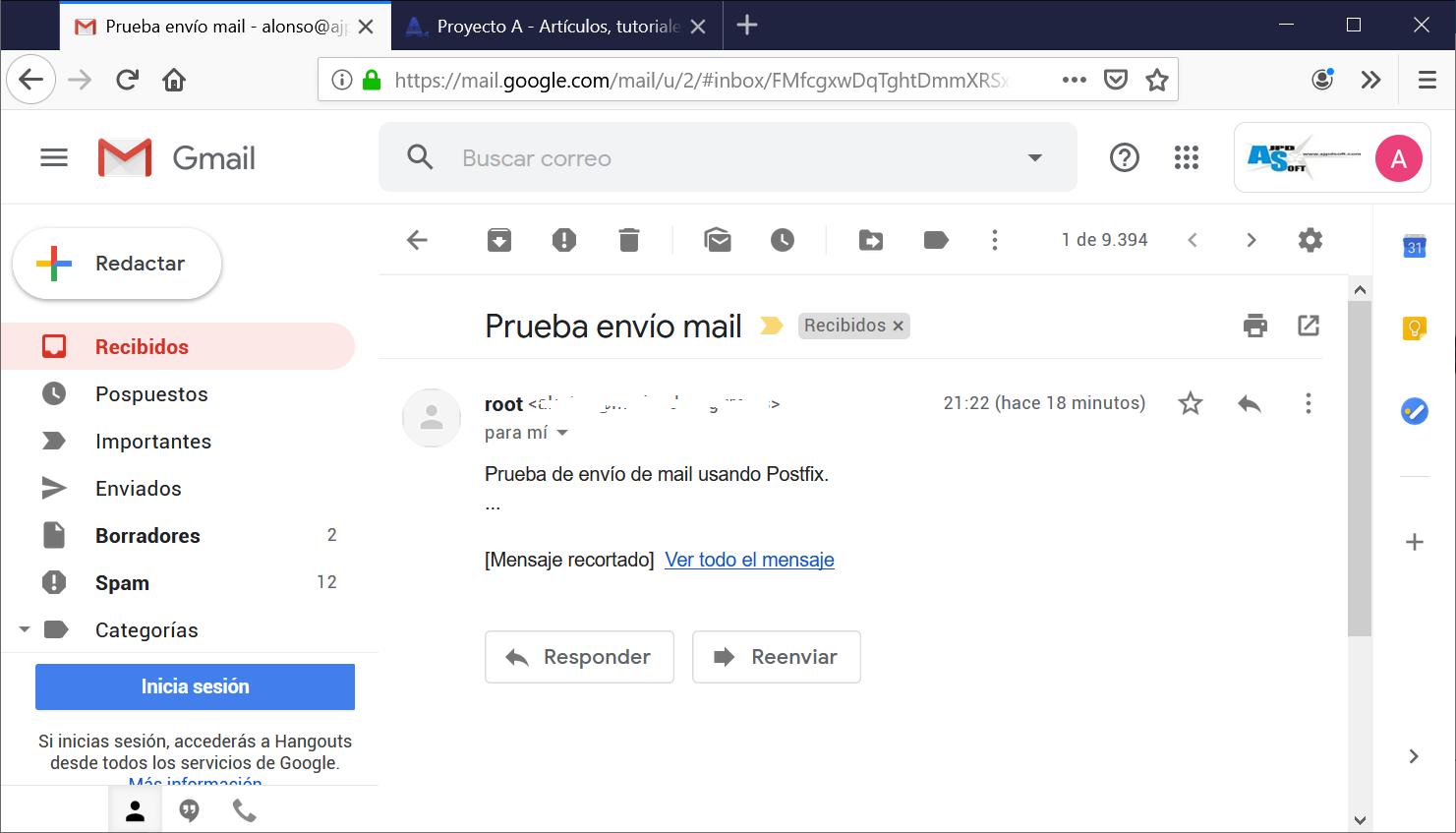 Enviar mail con postfix en Linux con servidor externo GMail o cualquier otro