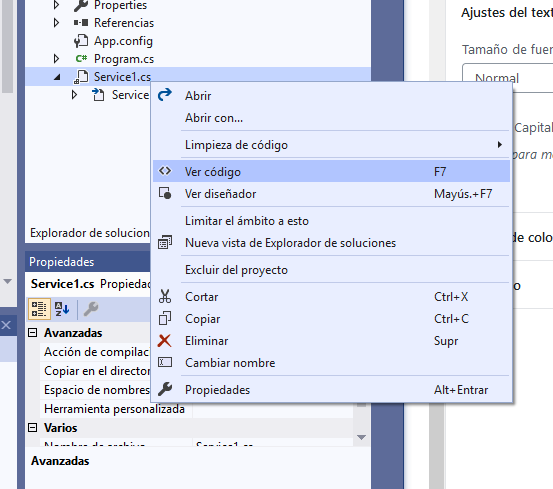 Crear proyecto en Visual Studio .Net 2019 con C# para servicio Windows