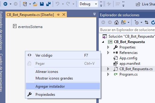 Agregar clase instaladora en proyecto Visual Studio .Net para servicio Windows