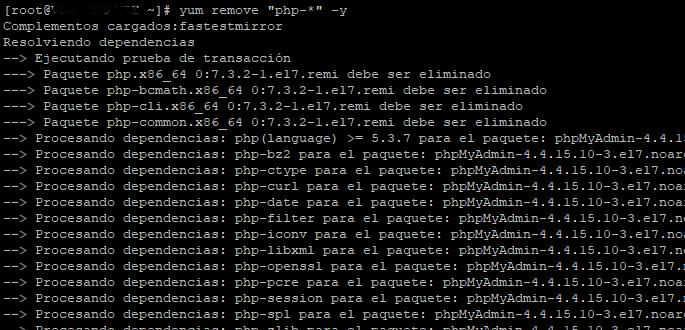 Degradar o bajar o downgrade versión de PHP 7 a la 5 en Linux CentOS 7
