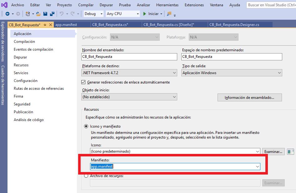 Asignar fichero de manifiesto a aplicación  Visual Studio .Net C# C Sharp