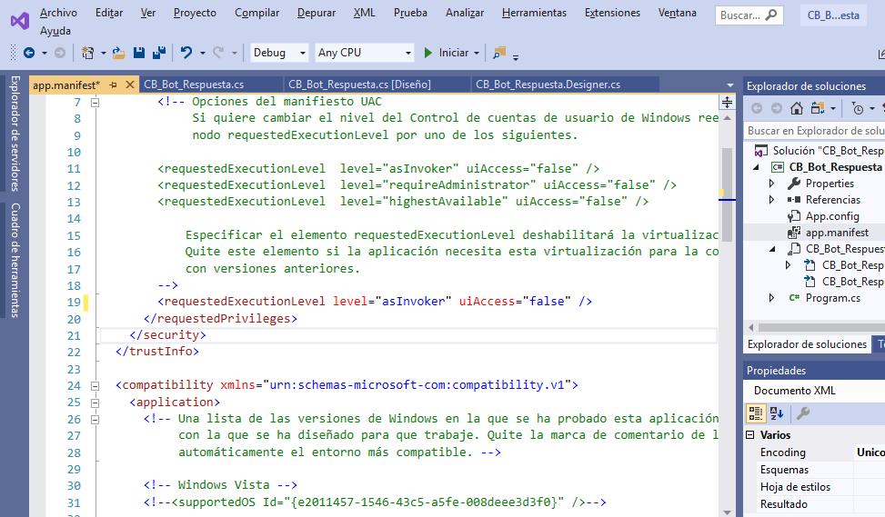 Agregar fichero de manifiesto (manifest) a aplicación Visual Studio .Net C# C Sharp