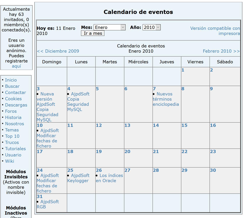 Calendario PHP PHPNuke NuCalendar