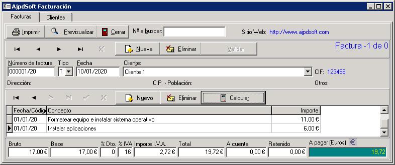 Aplicación gratuita AjpdSoft Facturación