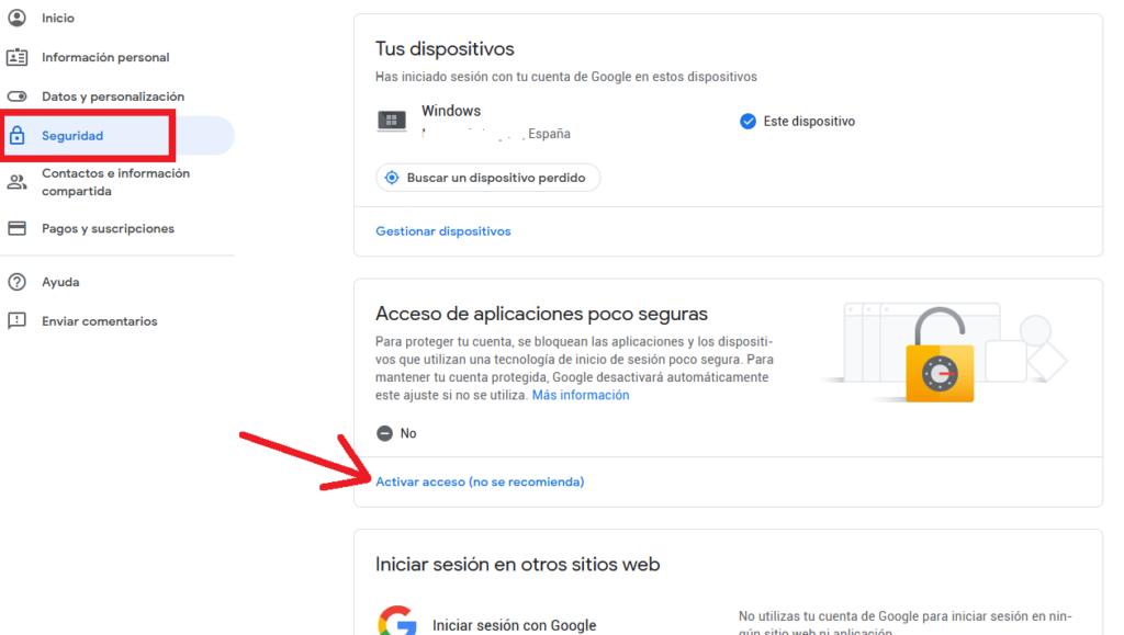 Habilitar acceso de aplicaciones poco seguras en tu cuenta de GMail