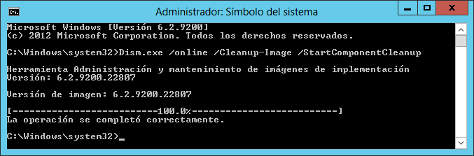 Liberar espacio en la carpeta WinSxS de Windows