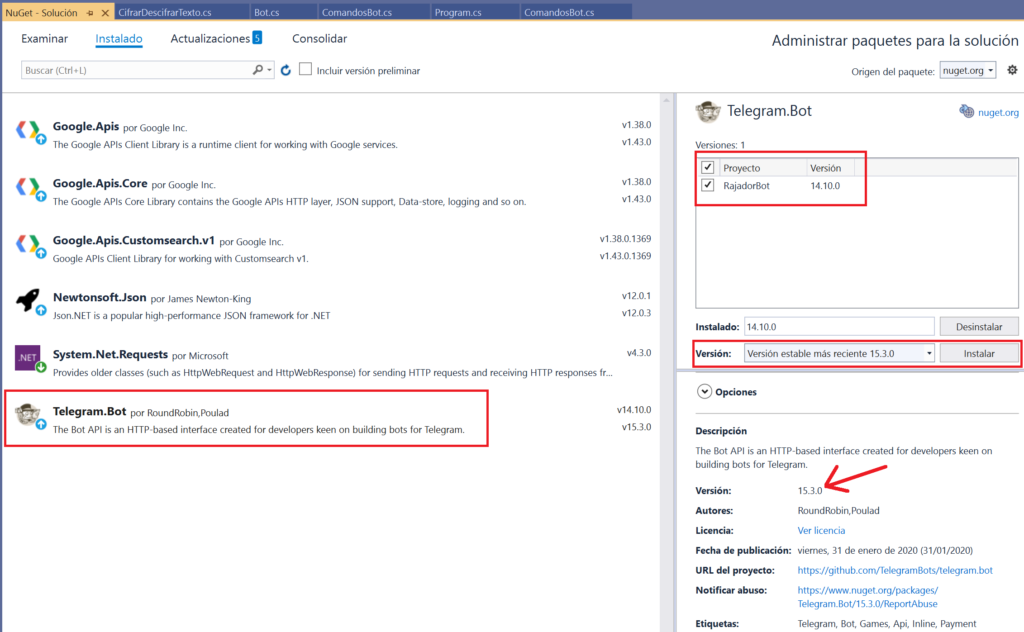Actualizar paquete NuGet en Visual Studio .NET Community