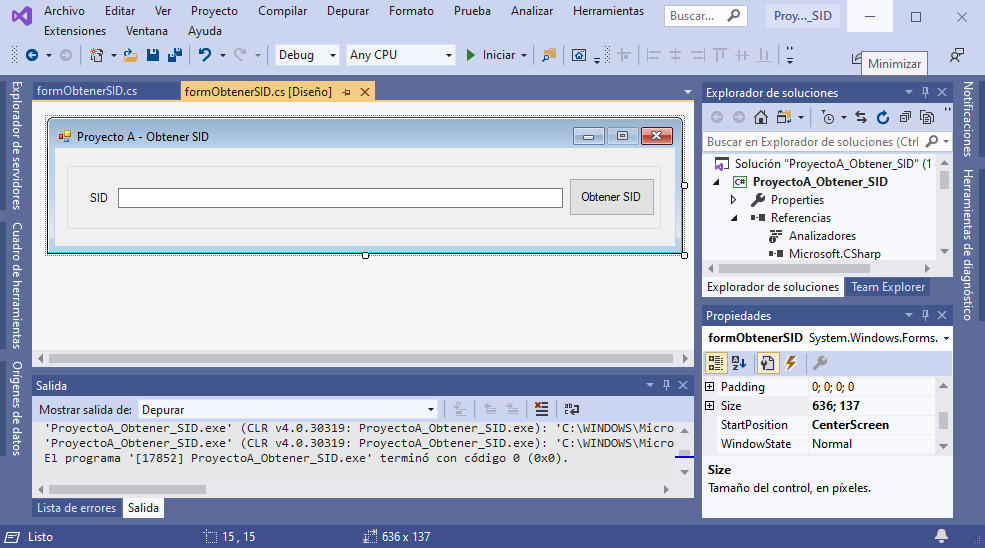 Obtener el SID Identificador de Seguridad en equipo Windows mediante C# C Sharp de Visual Studio .NET