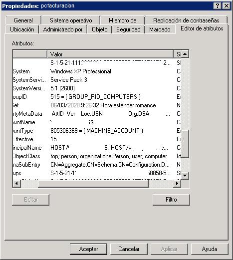 Comprobar agregación de equipo en Active Directory