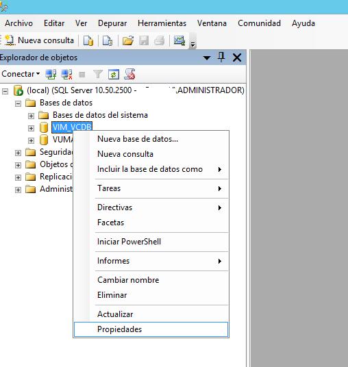 Escenario de trabajo con VMware ESX, VMware vCenter y SQL Server Express