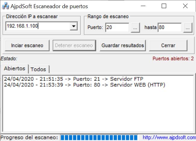 AjpdSoft Escaneador de puertos