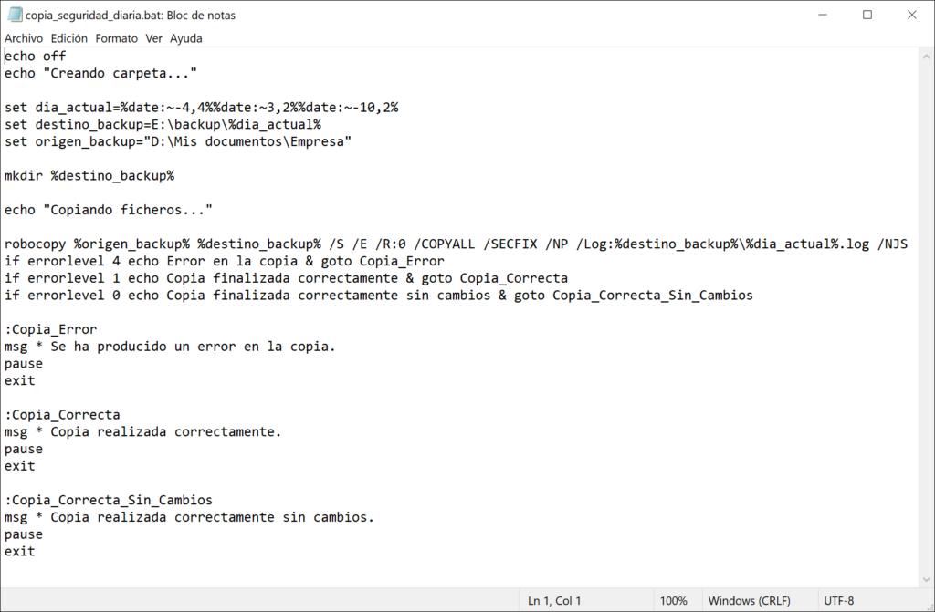 Script .bat de proceso por lotes para crear carpeta cada día y ejecutar Robocopy con los parámetros apropiados