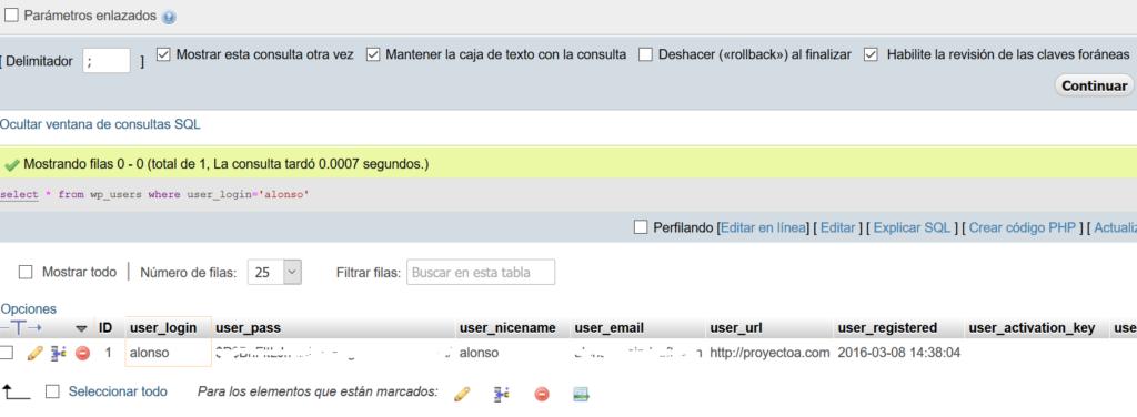 Cambiar la contraseña de acceso a la administración de WordPress mediante phpMyAdmin