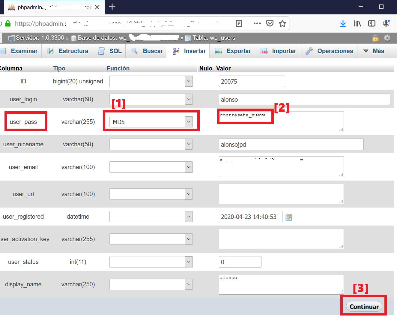 Cambiar contraseña usuario admin de acceso a WordPress