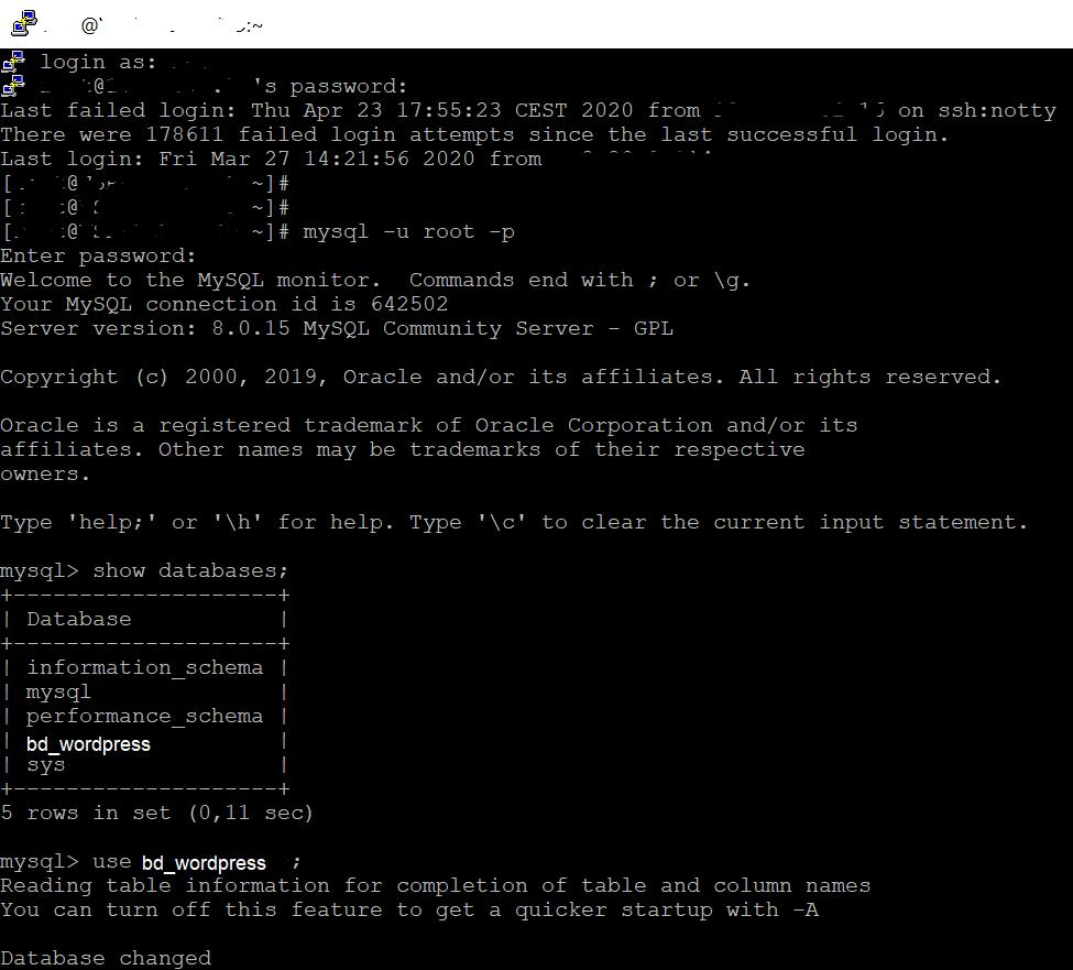 Modificar la contraseña de acceso de un usuario de WordPress desde el shell de comandos de MySQL
