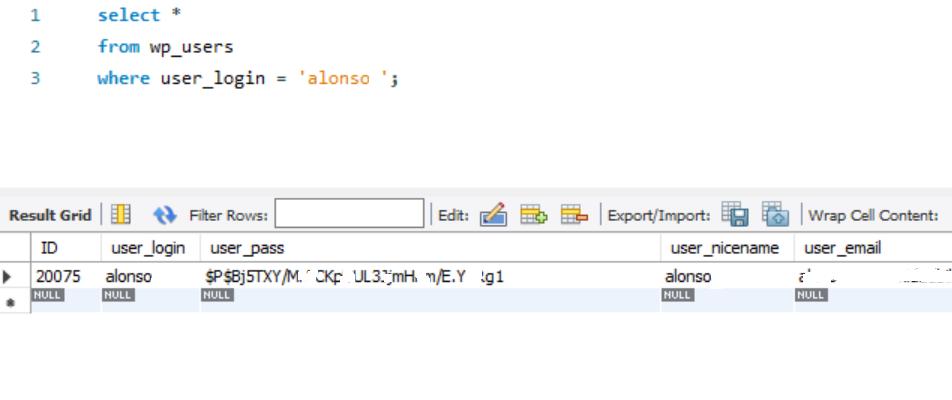 Comprobación de que WordPress ha aplicado el salt al texto md5 de la contraseña