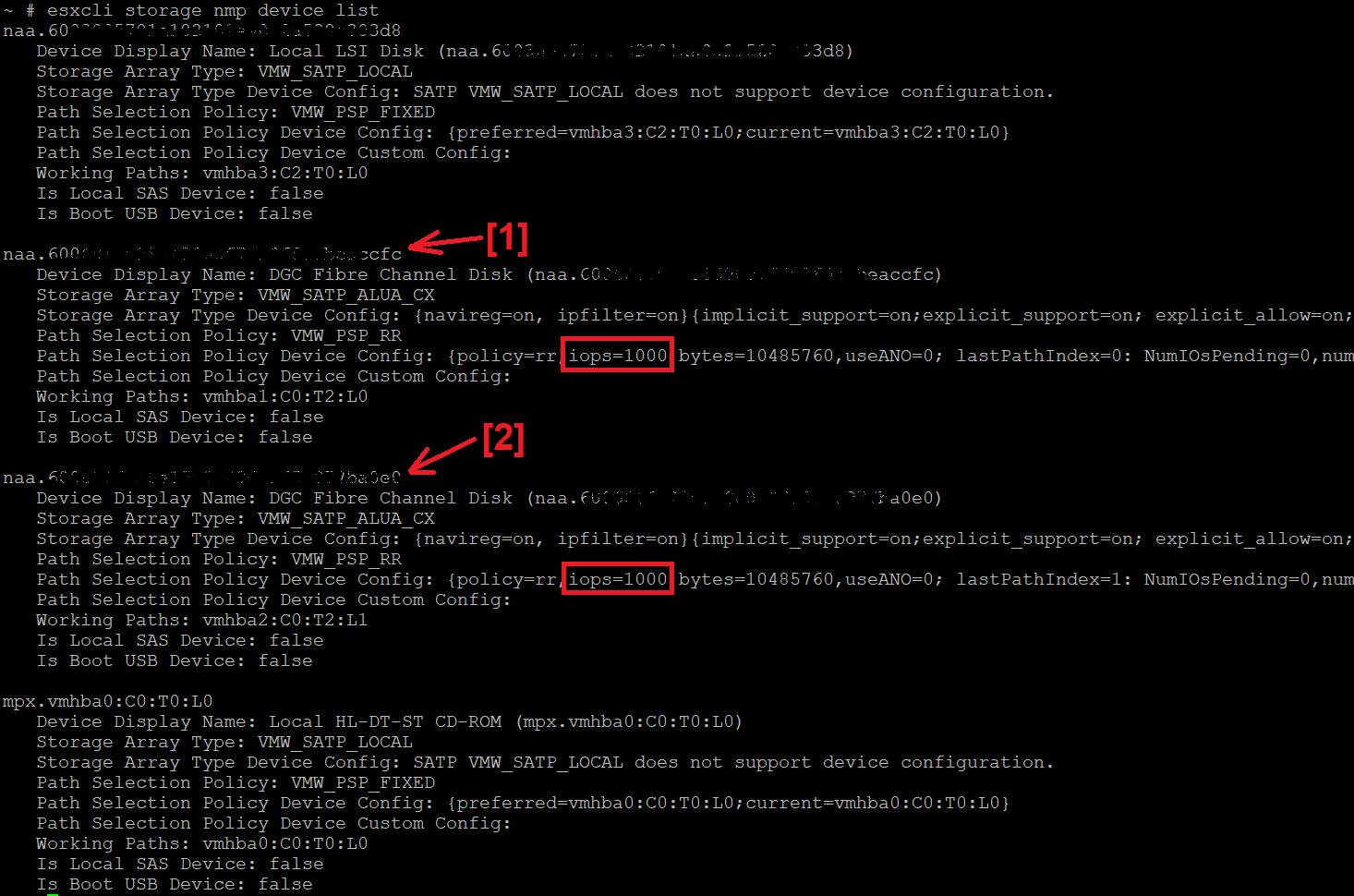 Ajustar límite de IOPS de Round Robin de 1000 por defecto a 1 en VMware ESX