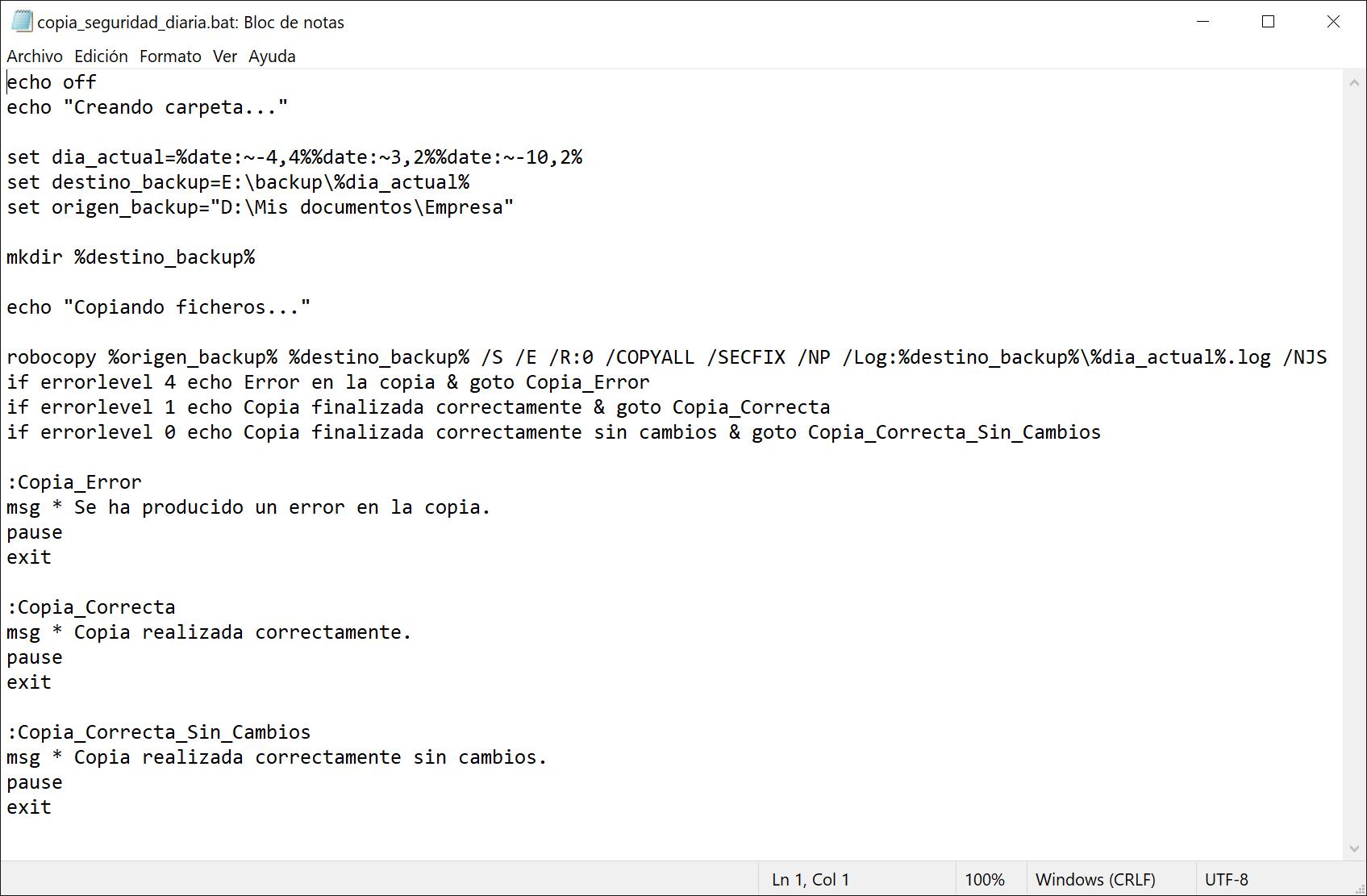 Hacer copia de seguridad en carpeta nueva cada día con Robocopy en Windows
