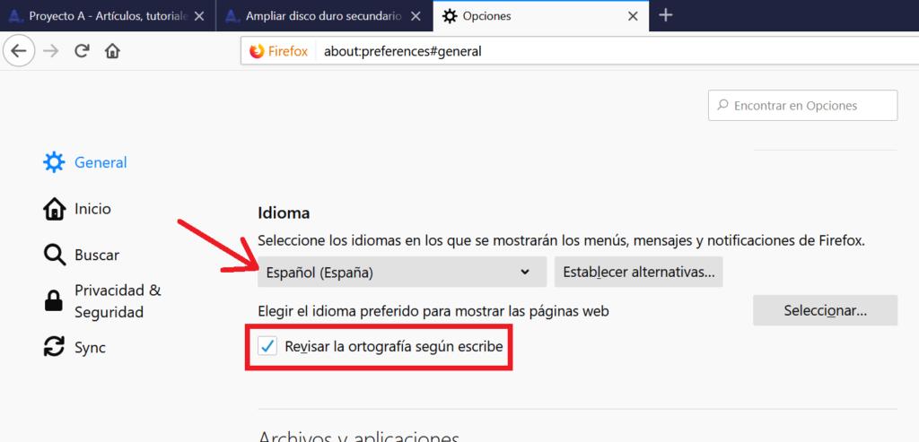 Activar el corrector ortográfico en Mozilla Firefox