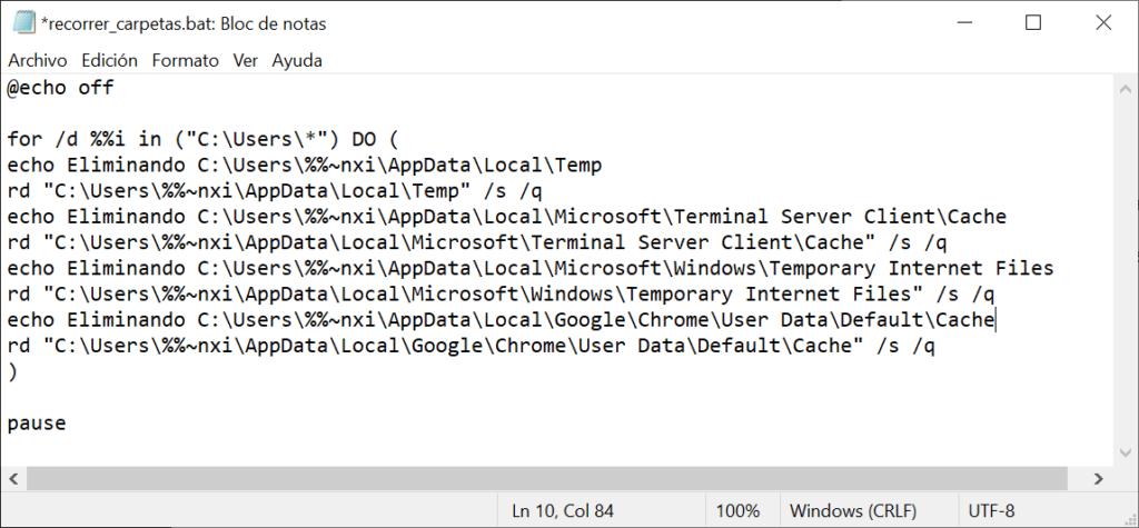 Script .bat de proceso por lotes que recorre subcarpetas y ejecuta comandos