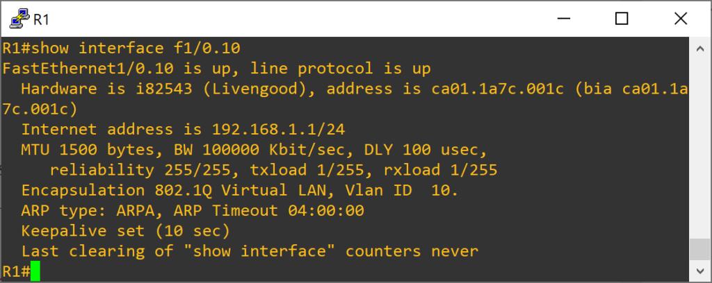 Primer proyecto GNS3 con un router Cisco C7200 y dos VPCS conectados en subinterfaces (VLAN)