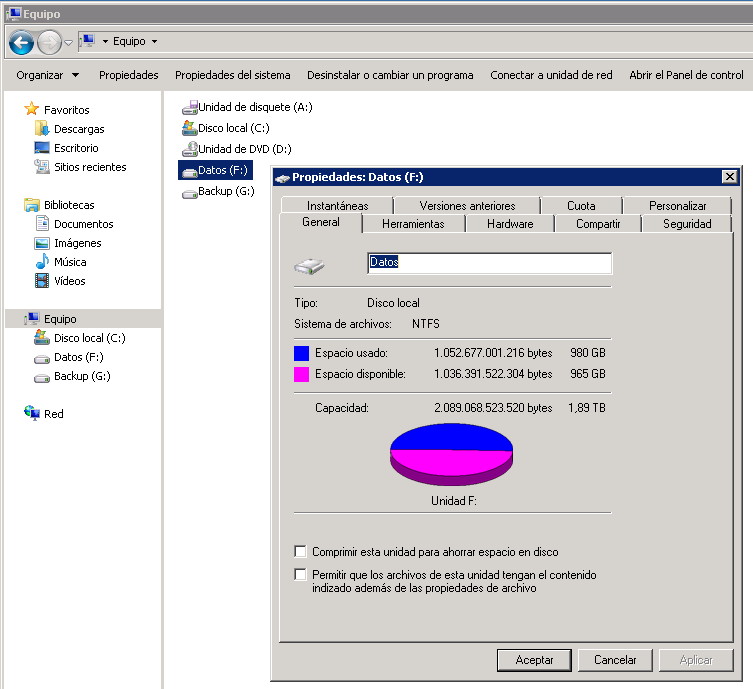 Ampliar/Extender disco duro en Windows Server 2008