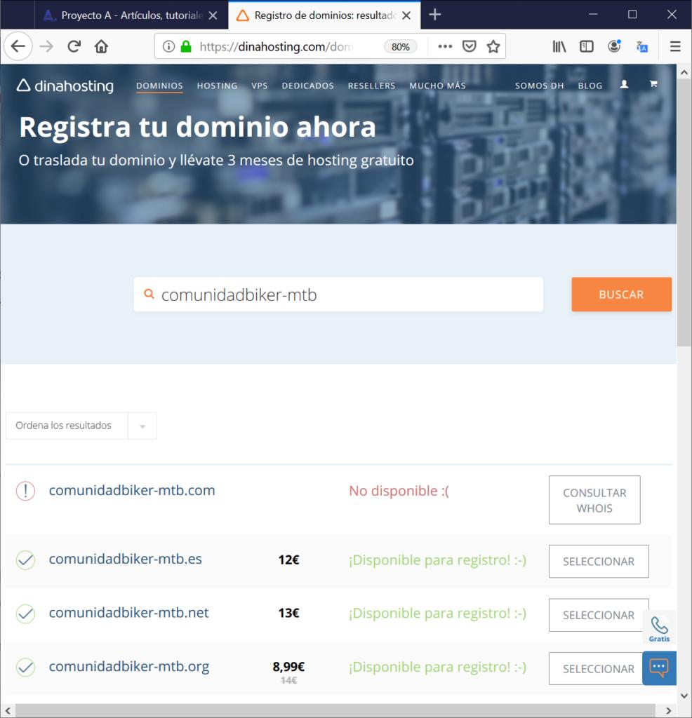 Registro de dominio, acceso al panel de control y alta de cuenta de correo