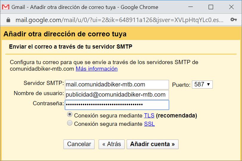 Configurar buzón de Gmail para envío de mails con cuenta personalizada de nuestro dominio