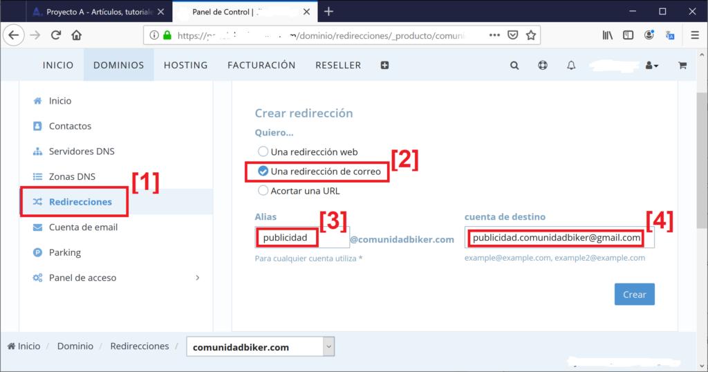 Añadir redirección en panel de control del dominio registrado personalizado
