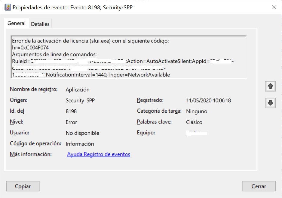 ¿Por qué se produce el error en la activación de licencia slui.exe hr 0xC004F074 id 8198 de Security-SPP en Visor de eventos de Windows?