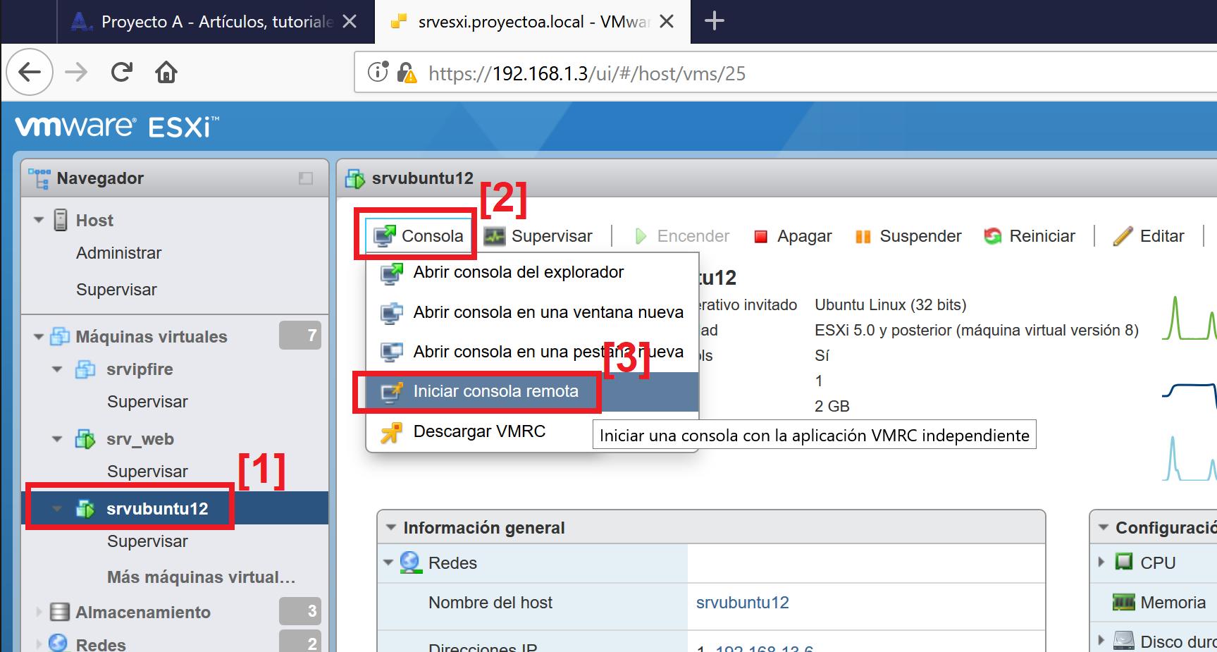 Utilizar VMware Worstation Player en lugar de la consola web de VMware ESXi para acceder a una máquina virtual