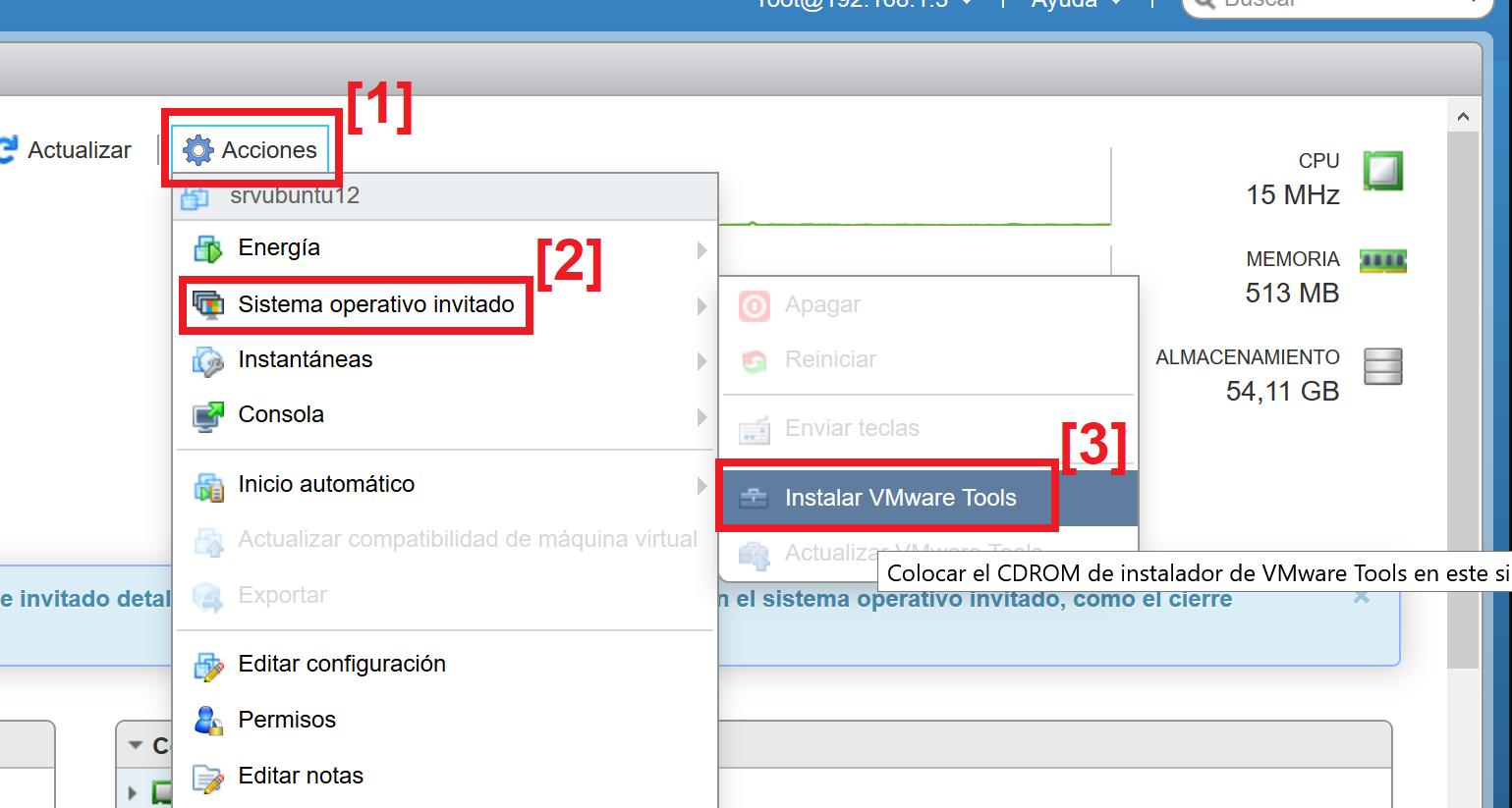 Instalar VMware Tools en máquina virtual con Linux Ubuntu Server 12 sobre VMware ESXi 6.5