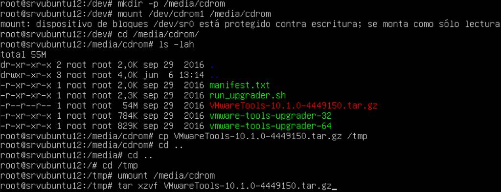Montar unidad de CD e instalar VMware Tools en Linux Ubuntu Server 12
