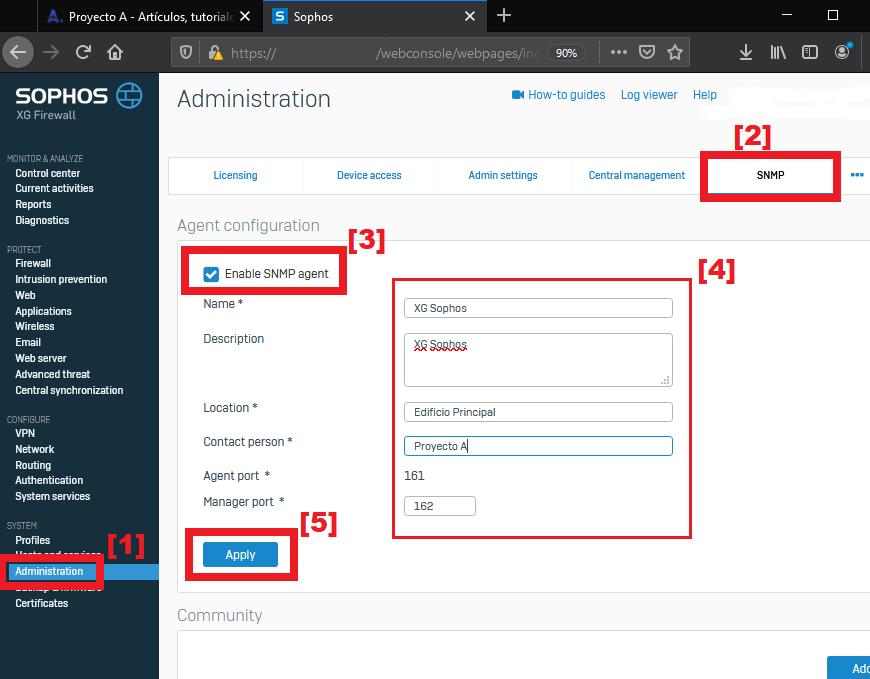 Activar servicio SNMP en firewall XG Sophos