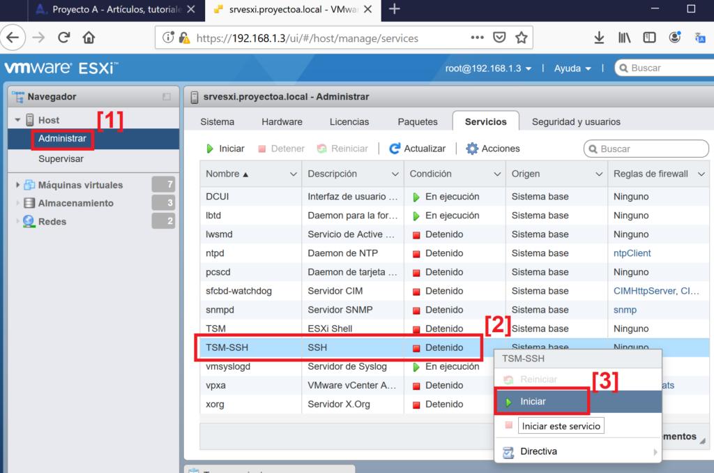 Habilitar acceso SSH a host VMware ESXi