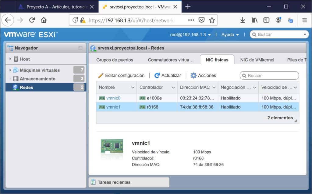 Instalar driver/controlador de tarjeta de red en VMware ESXi 6.5 mediante SSH y acceso a una web