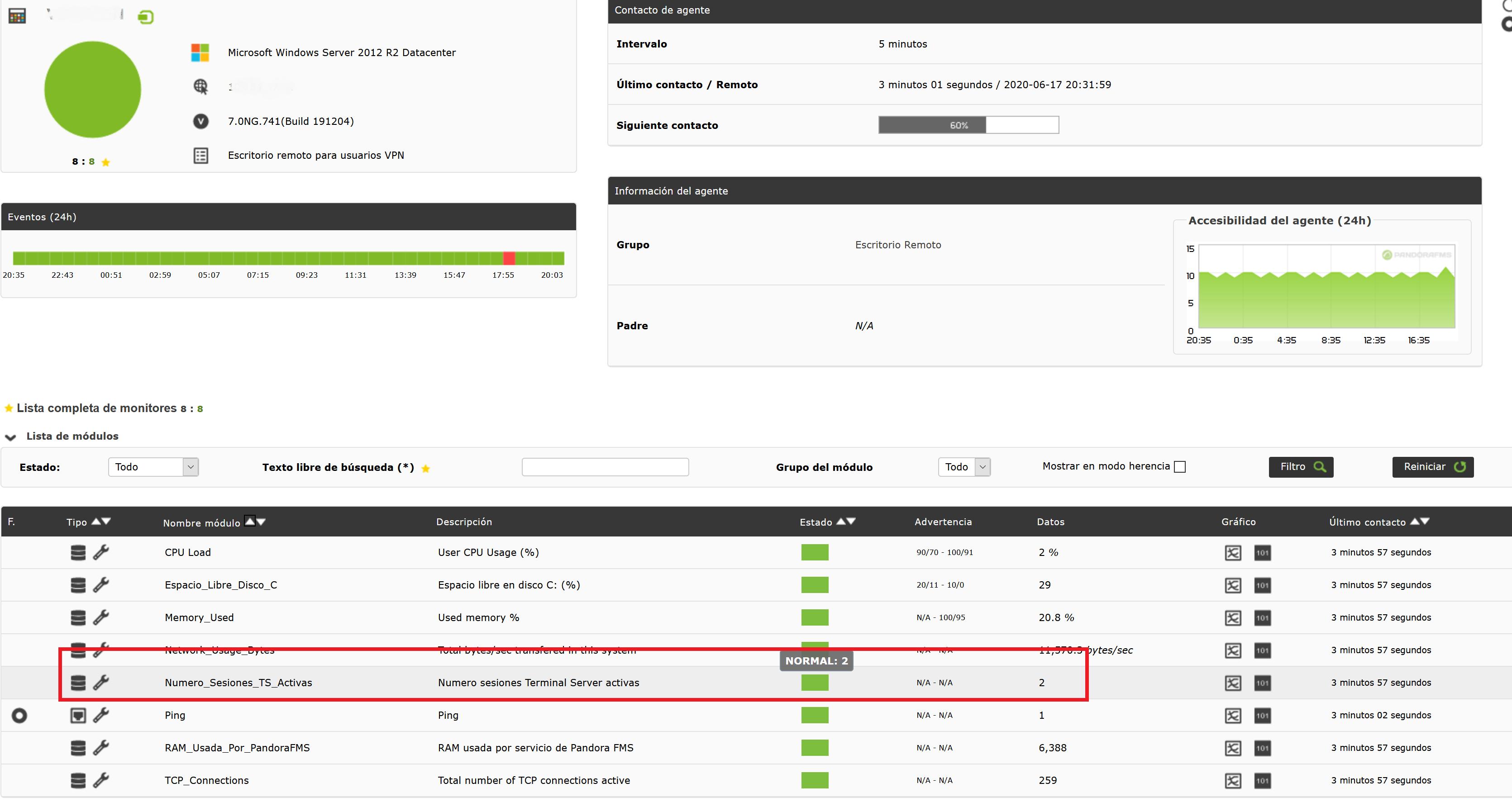 Monitorizar número de sesiones activas de Terminal Server Escritorio Remoto de un servidor Windows con Pandora FMS