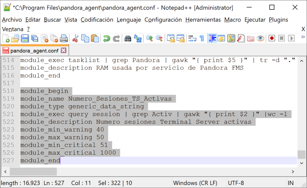 Monitorizar en Pandora FMS el número de usuarios conectados por sesión de Terminal Server (Escritorio Remoto) en un equipo Windows