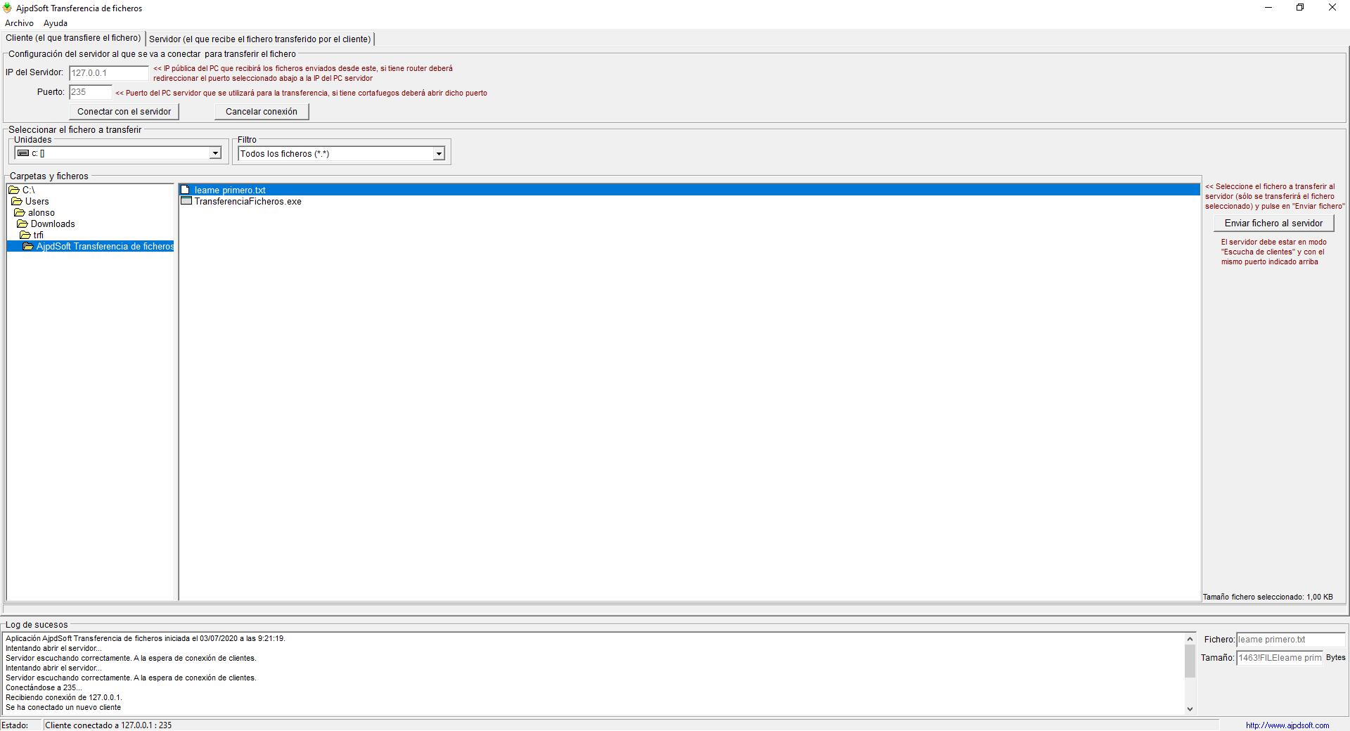 AjpdSoft Transferencia de ficheros Código Fuente Delphi 6