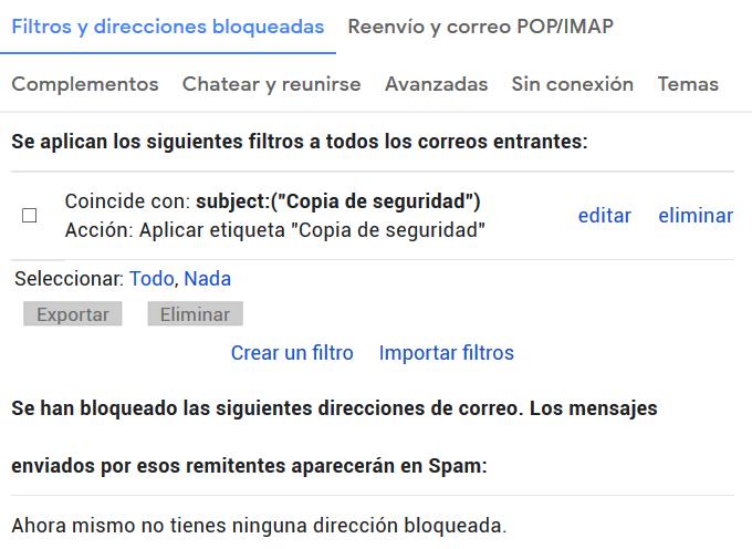 Editar o modificar las reglas creadas en GMail