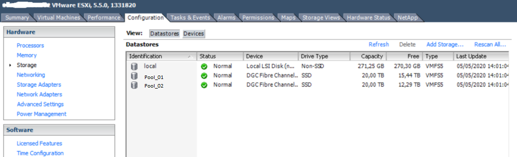 Reescaneo de datastores en VMware vCenter