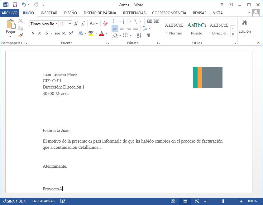 Combinar correspondencia y generar un documento por cada cliente (carta)