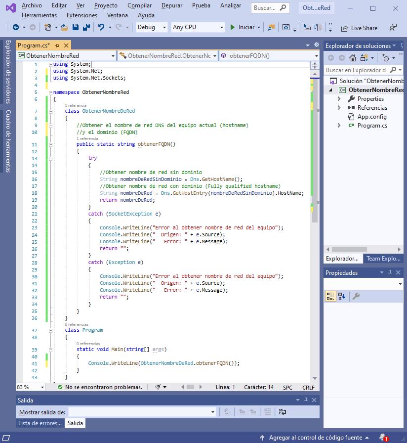 Obtener nombre de red hostname completo FQDN de equipo Windows con Visual Studio .Net C#