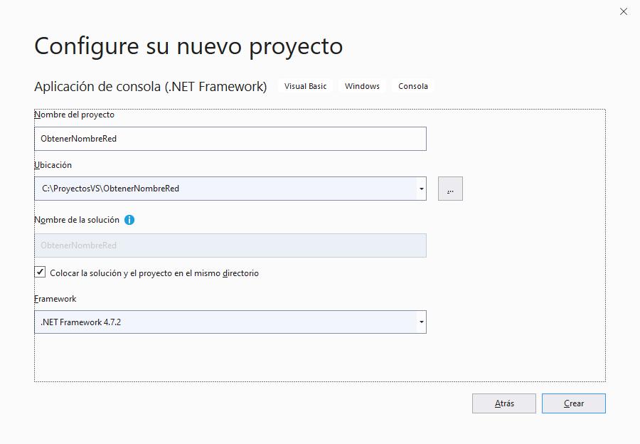 Crear proyecto C# y bbtener el nombre de red hostname y el FQDN en Visual Studio .Net